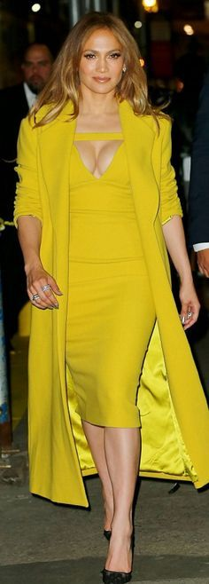 Jennifer Lopez: Dress and coat – Christian Siriano Shoes – Chrsitian Louboutin