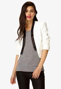 black/white cardigan, gray top and black on bottom