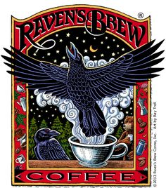 The Raven's Brew Coffee® label art by Ray Troll with custom lettering by Karen Lybrand.