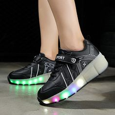 Amazon.com | NIKOO Girls Boys LED Light up Single Wheel Roller Shoes Retractable Roller Skate Shoes Kids Sneakers | Sneakers