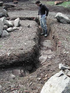 Foundation trench for cob building