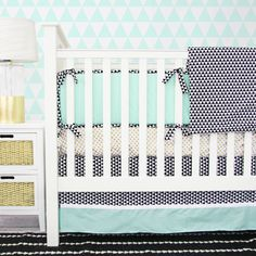 Eclectic Mint Crib Bedding from @Caden Lane