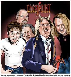 Cheapdirt AC/DC Tribute band.  By Christel Schols, sneltekenaar