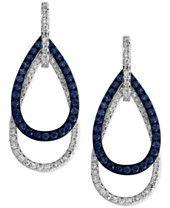 EFFY Sapphire (5/8 ct. t.w.) and Diamond (3/8 ct. t.w.) Open Double Teardrop Earrings in 14k White Gold