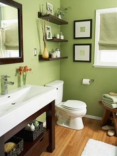 Green bathroom walls with brown woodwork - Click image to find more Home Decor Pinterest pins