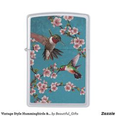 Vintage Style Hummingbirds & Cherry Blossoms Zippo Lighter Cool Lighters, Vintage Style, Vintage Fashion, Turquoise Background, Zippo Lighter, Bird Patterns, Beautiful Gifts, Teal Colors, Inspirational Gifts