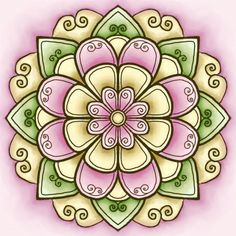 Pink and Yellow mandala - by Tracey Lynn 'Fred' Miller, via Fred, She Said blog (August 2007)