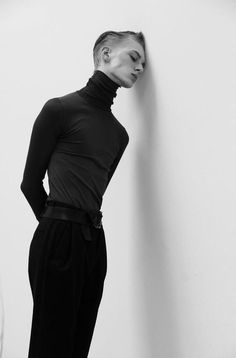 Strong b/w editorial shot of Dominik Sadoch by Szilveszter Mako.