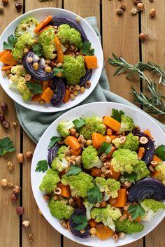 Rosemary Roasted Cauliflower Salad with Butternut Squash, Hazelnut, & Mulberries - Flora & Vino