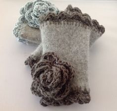 Fingerless gloves made from recycled sweaters.