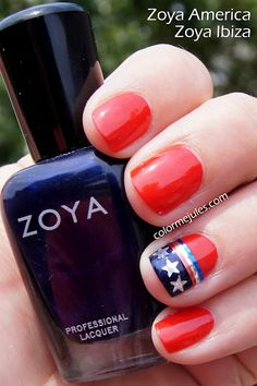 4th of July inspired Zoya mani (America and Ibiza) - www.colormejules.com