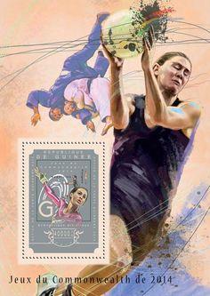 Post stamp Guinea GU 14608 b Commonwealth Games 2014 (Artistic gymnastics, badminton, diving) Commonwealth Games, Artistic Gymnastics, Badminton, Diving, Stamps, Books, Seals, Libros, Scuba Diving