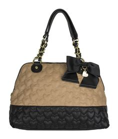 You'll <3 this Betsey Johnson Be Mine Satchel in tan and black, or black and black patent!! I have this one!