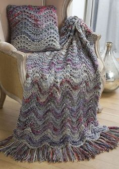 Free Knitting Pattern for Elegant Lapghan and Pillow