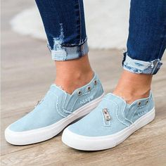 ed1ac0f4a9c Casual Solid Color Zipper Decoration Canvas Loafers – sheinlook