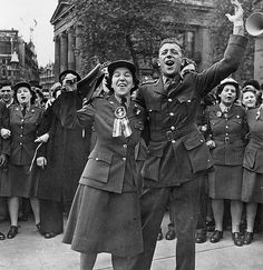 Canadian Women's Army Corps celebrating VE Day in London, May 7, 1945 ~