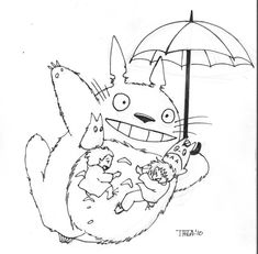 Totoro colouring page