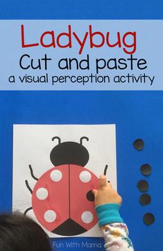 Ladybug craft cut and paste fine motor toddler activity is great for encouraging fine motor skills in preschoolers and toddlers. This could be a wonderful addition to an Insect and Bugs Theme! #bugs #ladybug #crafts #finemotor #homeschool