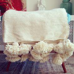 Ivory Pom Pom blanket 2.3m wide x 1.8m long via @paddotopalmy www.paddotopalmy.com.au