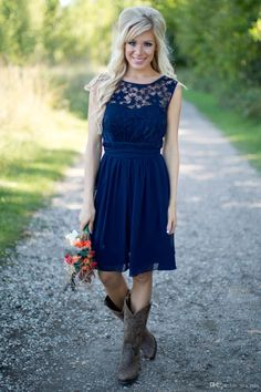 2016 New Navy Blue Country Style Bridesmaid Dresses Short Cheap Western Wedding Guest Wear Lace Chiffon Knee Length Party Maid of Honor Gown Online with $82.42/Piece on Yes_mrs's Store   DHgate.com