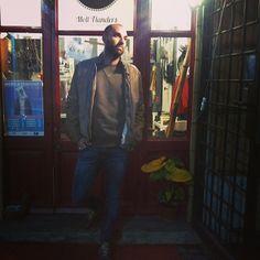 Casual: leather jacket #GiorgioBrato, sweatshirt #MauroGrifoni, jeans #Nudie, shoes #NewBalance