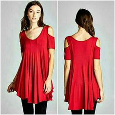 COLD SHOULDER TUNIC New red cold shoulder tunic 95% Rayon/5% Spandex Available in S,M,L Mad in USA Please comment size PRICE IS FINAL Tops Tunics