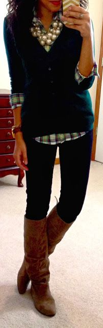 Plaid button-up, cardi, boots & pearls