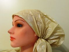 Shimmering pre tied tichel off white, $17.00