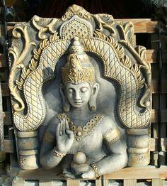 Antiqued grey & Sandstone Buddha plaque, from www.hipages.com.au/livingsculpturestatues