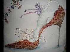Curso Virtual en Linea Técnica Lace Pretty Pictures, Pretty Pics, Cool Art, Fun Art, Painted Shoes, Fashion Shoes, Stencils, Scrap, Drawings