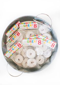 Great to be 8 free printables ...cupcake toppers, treat bags, invitations and a banner!