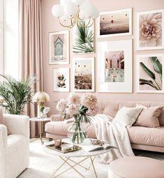 Blush Living Room, Home Living Room, Pink Living Rooms, Living Room Ideas, Bright Living Room Decor, Home Room Design, Living Room Designs, Decor Room, Bedroom Decor
