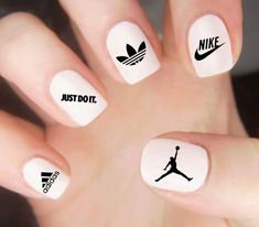 Air Jordan Nail Decal / Nike Nail Decal / Adidas Nails / Athletic / Sports… - New Ideas Cute Nail Designs, Acrylic Nail Designs, Acrylic Nails, Acrylic Art, Nail Decals, Nail Stickers, Cute Nail Art, Cute Nails, Nagel Gel