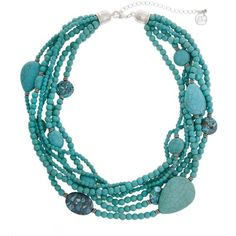 Erica Lyons Turquoise Silver-Tone World Turq Multi Row Beaded... ($20) ❤ liked on Polyvore featuring jewelry, necklaces, turquoise, multi strand beaded necklace, chunky statement necklace, multi-chain necklace, multi strand turquoise necklace and turquoise jewelry