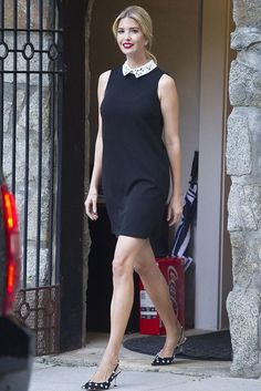 Ivanka Trump wearing Ivanka Trump Scuba Crepe Embellished Shirtdress and Zara Polka Dot Slingback Pumps
