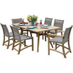 Outdoor Interiors 7 piece Nautical Teak Dining setwith teak and wicker... ($5,046) ❤ liked on Polyvore featuring home, furniture, chairs, dining chairs, teakwood furniture, wicker furniture, teak wood furniture, teak furniture and teak dining chairs