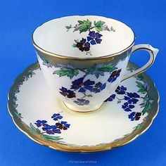 Handpainted Blue & Purple Violets Tuscan Tea Cup and Saucer Set