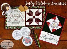 Jolly Holiday Sweaters pattern - All proceeds donated to Hunger Relief Charities! | Jacquelynne Steves Embroidery Supplies, Hand Embroidery, Embroidery Designs, Winter Quilts, Jolly Holiday, Gift Tags Printable, Satin Stitch, Quilting Tutorials, Digital Pattern