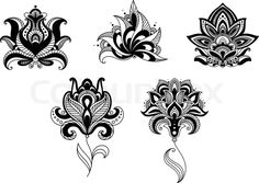 Stock vector of 'Ornate indian and persian floral design set with five different motifs in black and white, vector illustration'