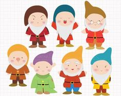 Disney Inspired Seven Dwarfs from Snow White Digital CLIP ARTS personal and commercial use for invitations, cupcake toppers, party supplies by Digicute on Etsy Drawing Software, Snow White Birthday, Cute Clipart, Seven Dwarfs, Disney Scrapbook, Scrapbooking, Princesas Disney, Disney Inspired, Felt Crafts