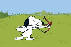 Snoopy as cupid shooting an arrow of love