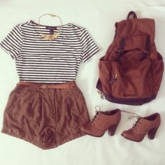 brown booties brown high wasted shorts