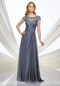 Two-tone chiffon A-line gown with hand-beaded illusion cap sleeves and bateau neckline, sweetheart lace bodice with ruched chiffon natural waistline, beaded illusion back, softly gathered skirt with sweep train. Matching shawl included.