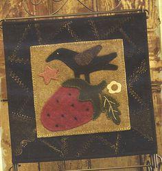 Primitive Folk Art Wool Applique Table Mat Pattern: JUNE - Wool Crazy Mat - - - BASE MAT pattern is sold separate----50 percent off.. $6.00, via Etsy.