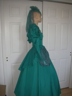 Vtge 60's 70's gown hat reticule Southern Belle Civil War Style Teal Pearl 3PC