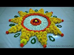 Diwali Special - Rangoli Design with marigold flowers, How to make rangoli with flowers - I - YouTube