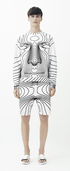 Spring 2014 Menswear - Christopher Kane black and white graphic                                                                                                                                                     More