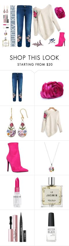 """Floral Chunky Knits"" by sara-cdth ❤ liked on Polyvore featuring MPJ, WithChic, Carvela, Rodin, Miller Harris, Too Faced Cosmetics and Kester Black"