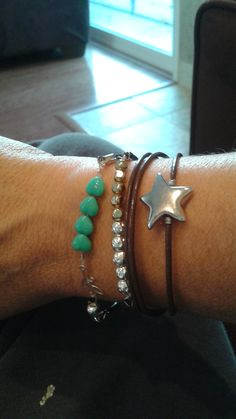 Three bracelets with leather and beads