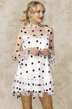 db10daf00ad Lena Sheer Overlay High Neck Polka Dot Romper Dress White